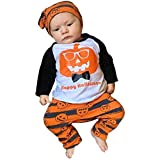 SUNTEAMO Halloween Toddler Baby Boys Pumpkin Tops Striped Pants Outfits 3Pcs Set Clothes