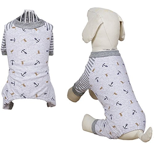 ZeroTone 100% Cotton Dog Pajamas, Striped Cartoon Jumpsiut Pet Shirt for Small Dog Puppy Cat 3 Styles XXS-XL (XXL, Grey) (Pajamas Breed Dog)