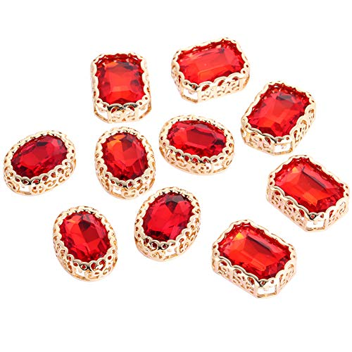 Vintage Rectangular Crystal Stone, Sew on Rhinestones Premium Clear Flatback Diamond,Sew Rhinestones for Crafts Clothes Garment, Clothing, Bags, Shoes, Dress, Wedding Party Decoration (Red ()