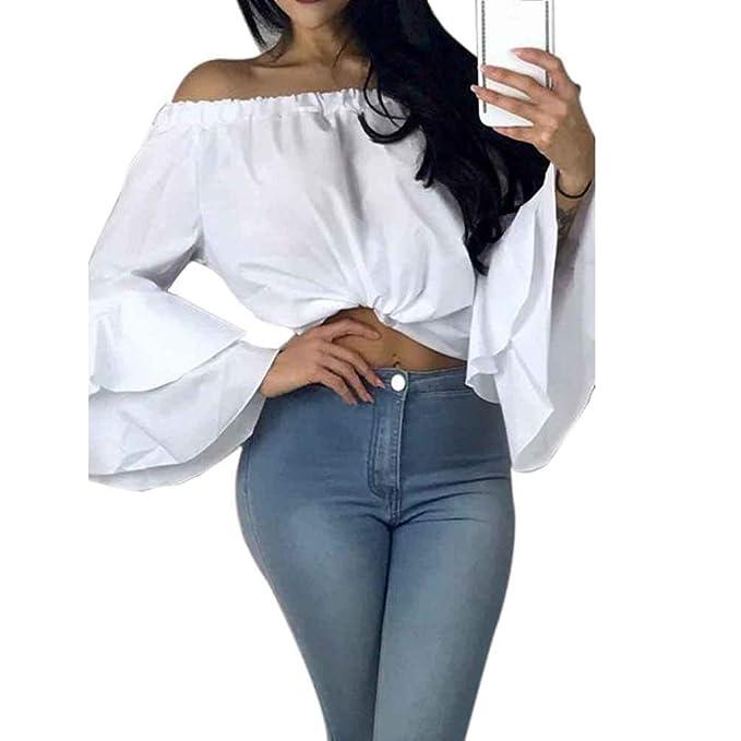 Camisas Mujer Verano Elegantes Moda Shirts Anchos Colores Sólidos Estilo Moderno Casuales Mujeres Blusas Tshirt Barco
