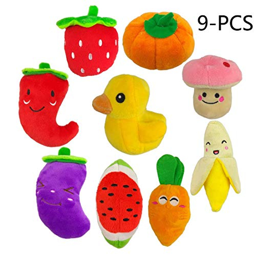 TuhooMall 12-15cm/ 4.7 -6 Inch Squeaky Fruits and Vegetables Plush Puppy Dog Toys for Small Dogs -