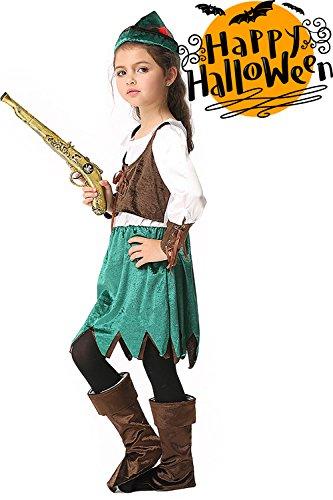 3PCS Girls Halloween Pirate Costumes Dress+Hat+Boots Kids Birthday Makeup Party (S(3-5 (Pirate Girl Makeup)