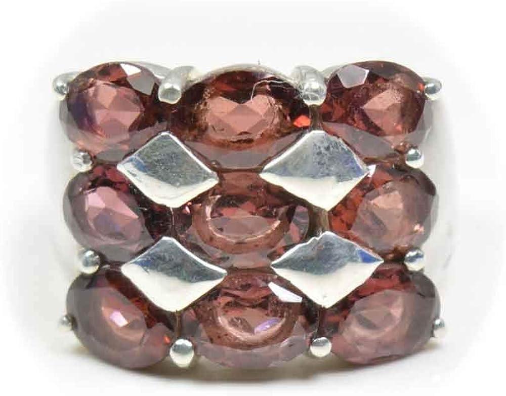 55Carat Genuine Red Garnet Birthstone Sterling Silver Ring Statement Handmade Sizes 4,5,6,7,8,9,10,11,12