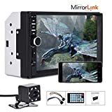 Double Din Car Stereo Mirror Link for Android Phone, Essgoo 7018B 7Inch Capacitive Touch Screen In Dash Support BT/MP5/MP3 Audio 1080P Video Player USB/SD/AUX-in/TF/FM Radio Receiver with Rear View Camera and Wireless Remote Control