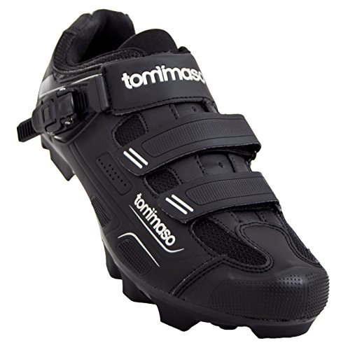 Tommaso Montagna 200 Men's Mountain Bike MTB Spin Cycling Shoe with Buckle Compatible with SPD Cleats Black - 48