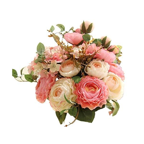 KIRIN-Artificial-Fake-Flowers-Plants-Silk-Rose-Flower-Arrangements-Wedding-Bouquets-Decorations-Plastic-Floral-Table-Centerpieces-Home-Kitchen-Garden-Party-Dcor-Pink-Champagne