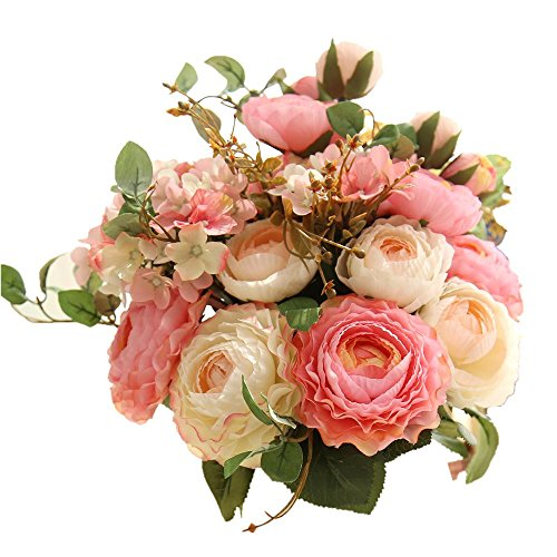 KIRIN Artificial Fake Flowers Plants Silk Rose Flower Arrangements Wedding Bouquets Decorations Plastic Floral Table Centerpieces Home Kitchen Garden Party Décor (Pink ()