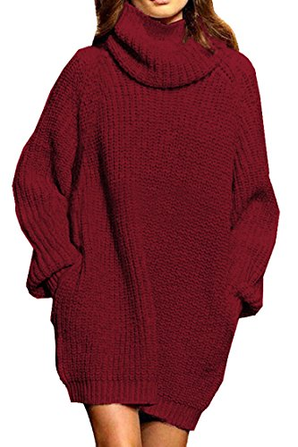 Women's Loose Turtleneck Oversize Long Pullover Sweater Dress Wine Red S