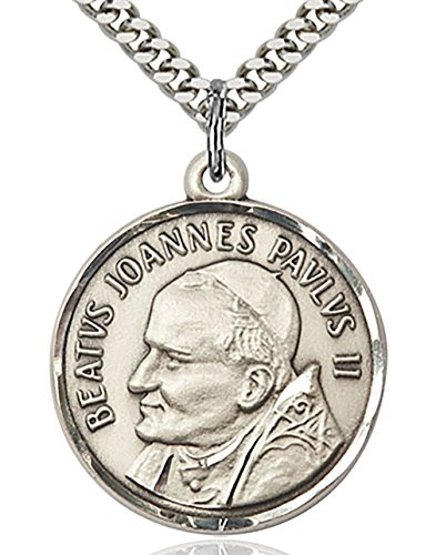 Men's Round Sterling Silver Saint Pope John Paul II Medal + 24 Inch Endless Rhodium Plated Chain