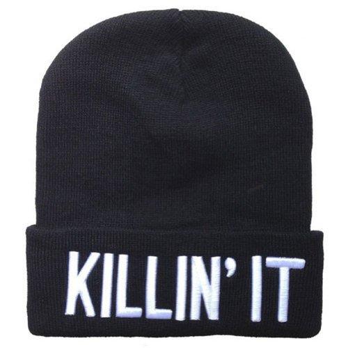 YOXO Winter Warm Knit Killin It Black Beanie Hat for Men and Women Winter Cap - It Killin