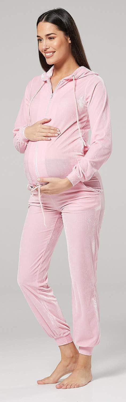 HAPPY MAMA Womens Maternity Nursing Hooded Velvet Tracksuit /& Jogger Set 1150