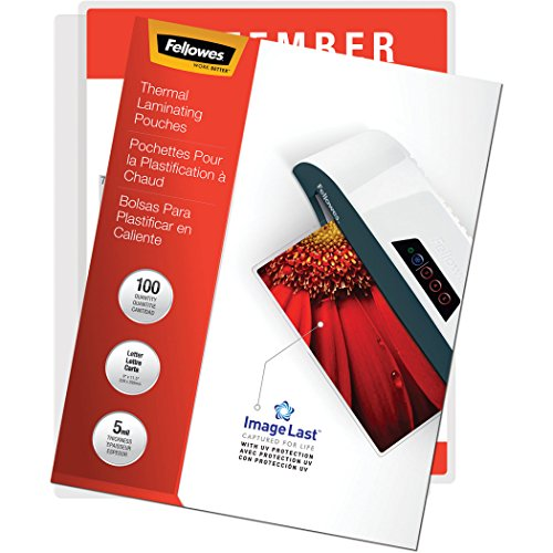 Fellowes Thermal Laminating Pouches, ImageLast, Jam Free, Letter Size, 5 Mil, 100 Pack ()