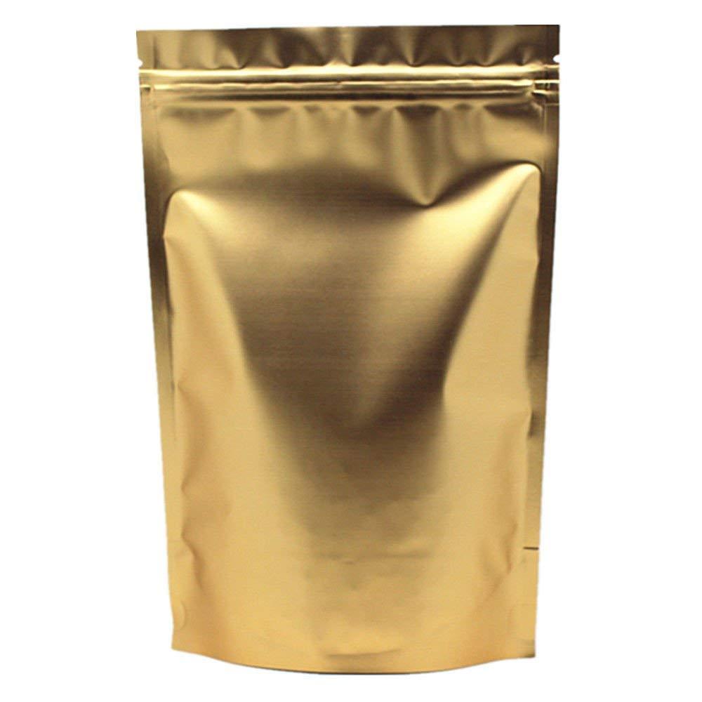 12 x 20 cm ジップロックバッグ 自立袋 ヒートシール アルミ箔包装袋 食品用 再封可能 リサイクルマット ゴールド 長期保存用ポーチ 漏れ防止 コーヒー豆 パッケージングバッグ (400) B07HMJ5MKZ  400