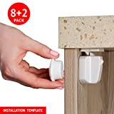 Water Ridge Toilet Child Proof Safety Magnetic Cabinets & Drawers Locks. 8 Locks 2 Keys Set. New 2017 design. Installation Template Included.3M Adhesive Tape. No Tools or Screws Needed