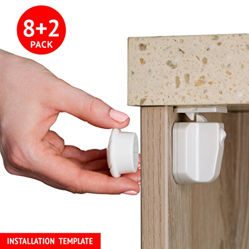 Magnetic Child Proof Safety Locks For Cabinets & Drawers. 8 Locks 2 Keys Set. Easy To Apply With Our Installation Template Frame Included. Strongest 3M Adhesive Tape. No Tools (White)