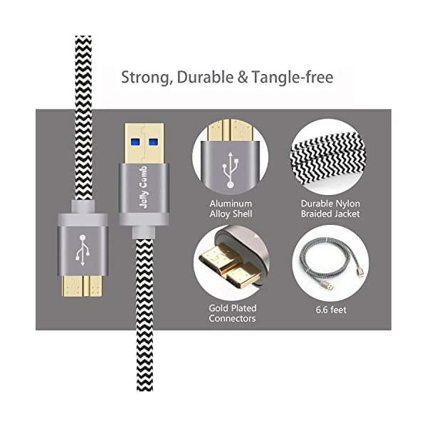 Samsung Galaxy S5 Note 3 Charger Cable Jelly Comb Nylon Braided USB 30 Micro B Fast Speed Data Sync Charging Cable For Galaxy S5 Note 3 Tab Pro 122 External Hard Drive