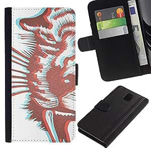 Billetera de Cuero Caso Titular de la tarjeta Carcasa Funda para Samsung Galaxy Note 3 III N9000 N9002 N9005 / Tiger Art White Brown / STRONG