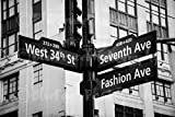 West 34th St & 7th Ave. Fashion Ave Street Sign, Home, Wall Decor, New York City, Black and White, Sizes Available from 5x7 to 20x30.