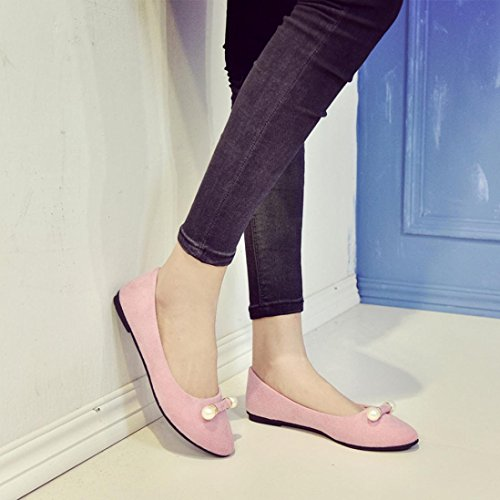 Jamicy Women Ladies Fashion Suede Summer Casual Comfortable Shallow Work Flat Shoes Pink GSr9UEi4