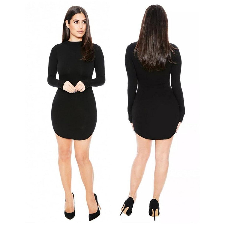 Sunward Ladies Women's Fashion Sexy Full Bodycon Long Sleeve Cocktail Party Dress (L2, Black)