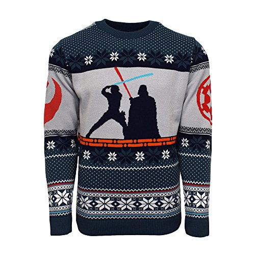 Official Star Wars Luke Skywalker Vs Darth Vader Christmas Jumpers for Men Or Women - Ugly Novelty Gifts Xmas Jumper - Unisex Knitted Sweater Design - Officially Disney Licensed Long Sleeve Sweater