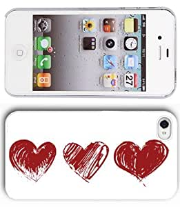 Apple iPhone 4 4S White 4W192 Hard Back Case Cover Color Three Red Hearts
