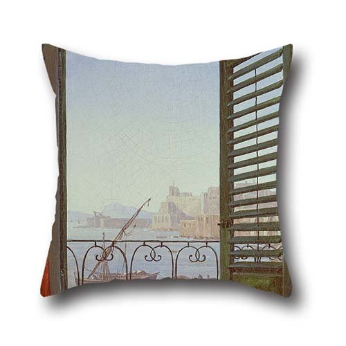 Throw Pillow Case 20 X 20 Inch / 50 By 50 Cm(both Sides) Nice Choice For Father,dining Room,boys,kids Room,monther,shop Oil Painting Carl Gustav Carus - Balkon In Neapel (Shops In Neapel)