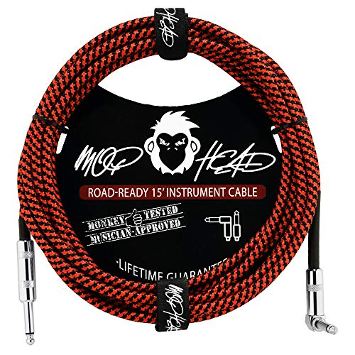 Mophead 15 Foot Double Insulated and Road Ready Braided 1/4in TS to 1/4in TS Guitar and Bass Instrument Cable Right Angle Black and Red