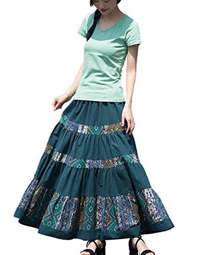 Femirah Women's Cotton Linen Floral Skirts Long Maxi Bohemian Skirts (One Size, Green)