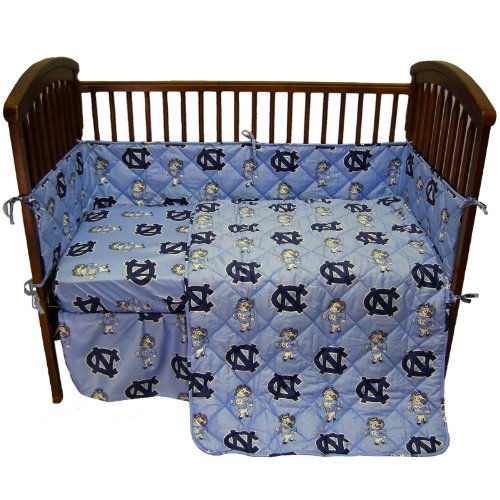 North Carolina Tar Heels 5 Piece Crib Set - Entire Set includes: (1) Reversible Comforter, (1) Bed Skirt , (2) Fitted Sheets and (1) Bumper Pad - Decorate Your Nursery and Save Big By Bundling!