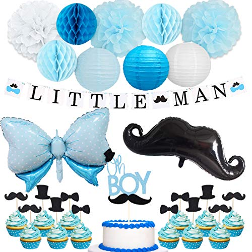 Little Man Baby Shower Decorations for Boy Little Man Banner Mustache Bow Tie Balloons Oh Boy Cake Topper for Mustache Baby Shower Birthday Party -