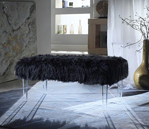 Iconic Home FBH2647-AN Trento Modern Contemporary Faux Fur Acrylic Leg Bench, Black