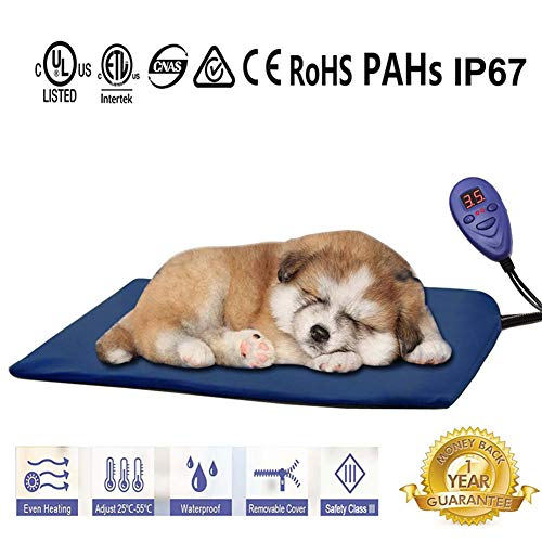 - FLYMEI Pet Heating Pad, Dog Cat Electric Heating Pad Waterproof Adjustable Warming Mat with Chew Resistant Cord, Soft Removable Cover, Overheat Protection