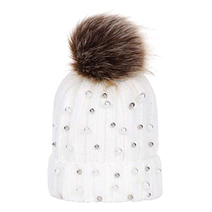 Amazon.com  🎈LIULIULIU🎈Baby Winter Cute Fur Pom Pom Hairball Beads Knit Hat  Beanie Warm Cap (White)  Garden   Outdoor 999fe7ea938