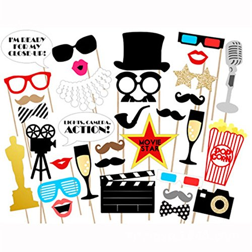 LASLU Movie - Hollywood Party Photo Booth Props Kit - 33 Count