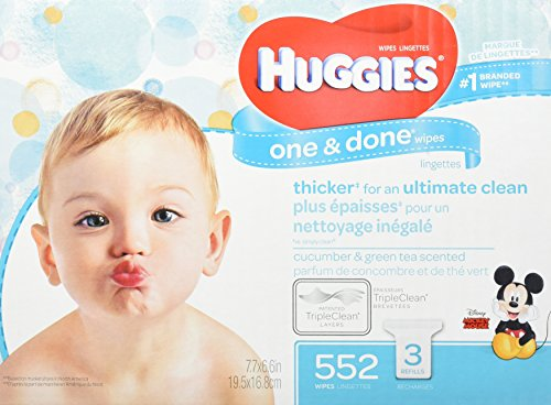 HUGGIES One & Done Scented Baby Wipes, Hypoallergenic, 3 Refill Packs, 552 Count Total ()