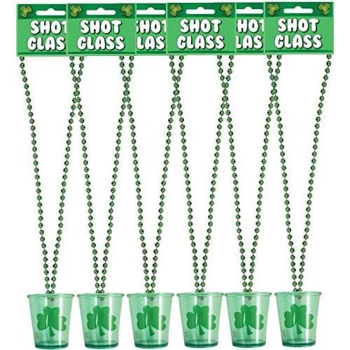 6 x Fête De St Patricks Verres À Liqueur nouveauté Trèfle Irlandais à boire Verre avec Collier