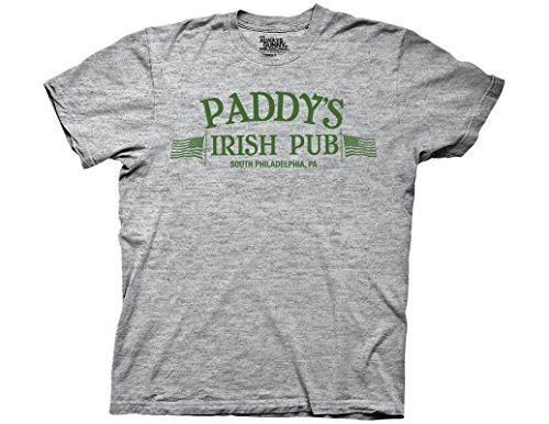 Ripple Junction It's Always Sunny in Philadelphia Adult Unisex Paddy's Irish Pub Light Weight Crew T-Shirt MD Heather Grey