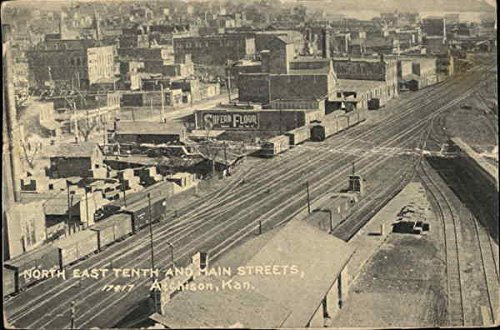 North East Tenth and Main Streets Atchison, Kansas Original Vintage Postcard