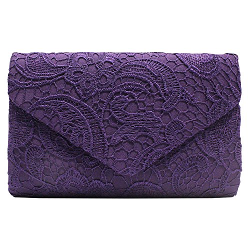 Wocharm Brand New Wonderful Lace Evening Clutch Bag Clutches BRIDAL WEDDING PARTY Handbag Shoulder Bags Fashion Prom Many Colors to Choose Purple 1#