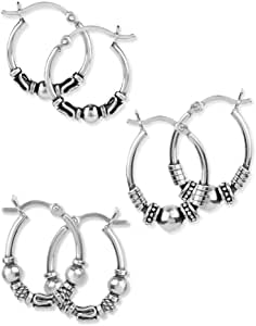 LeCalla Sterling Silver Jewelry Hoop-Earrings