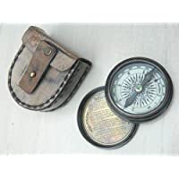 Roorkee Instruments (INDIA) Brass Poem Compass Road Not Taken Robert Frost with Leather Storage Case (Multicolour)