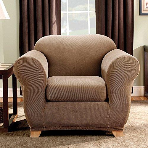 - SureFit Stretch Madison Stripe One Piece Brown Chair Slipcover