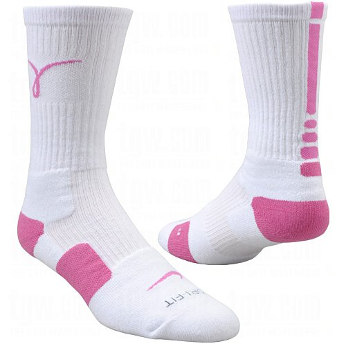 Nike Kay Yow Elite Crew Basketball Socks White/Pink Size Socks Large 8-12