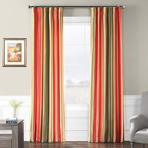 (Half Price Drapes PTSCH-13402-96 Faux Silk Taffeta Stripe Curtain, Orleans)