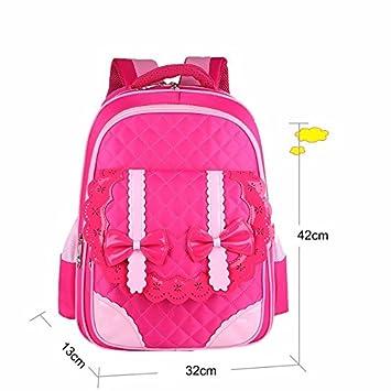 Los niños, bolsos de escuela, chicas, dibujos animados, hombros, princesas, mochilas, grado 3 - 5 - 6,Rosa Roja: Amazon.es: Oficina y papelería