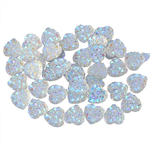 (PH PandaHall About 100pcs White 9.5mm Heart Flat Back Resin Cabochons Sparkly Glitter for Setting Bezel Tray Pendant Charms)