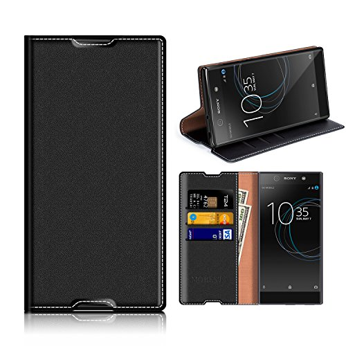 Sony Xperia XA1 Wallet Case, Mobesv Sony Xperia XA1 Leather Case/Phone Flip Book Cover/Viewing Stand/Card Holder for Sony Xperia XA1, Black