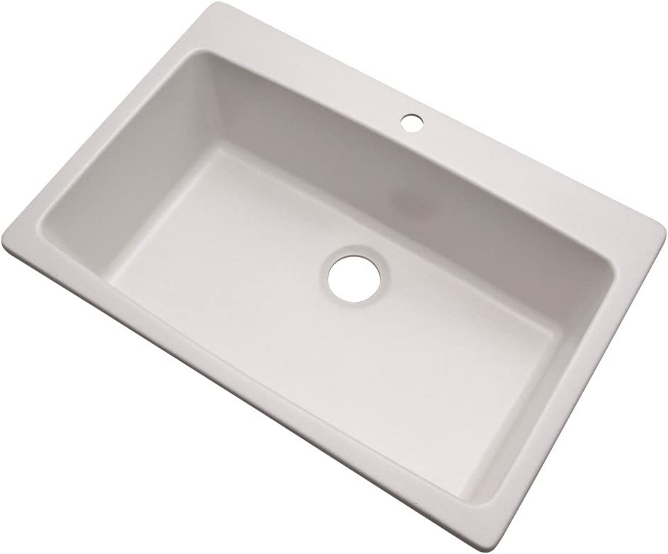 Dekor Sinks 70100Q Northampton Composite Granite Single Bowl Kitchen Sink with One Hole, 33