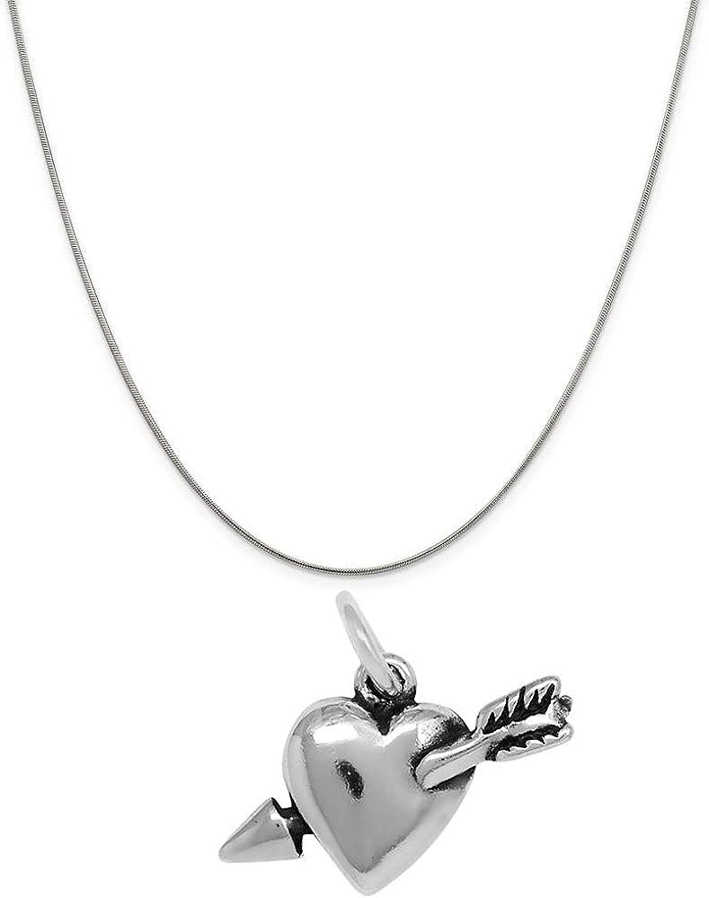 Raposa Elegance Sterling Silver Pierced Heart Arrow Charm on a 16 Snake Chain Necklace